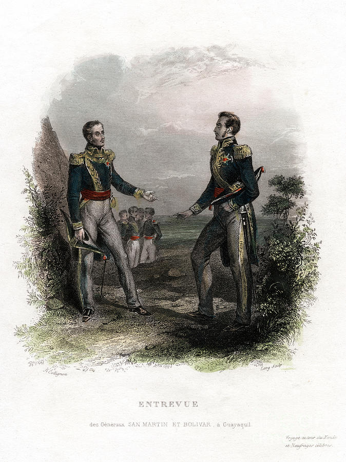Meeting Between Generals San Martin Drawing by Print Collector