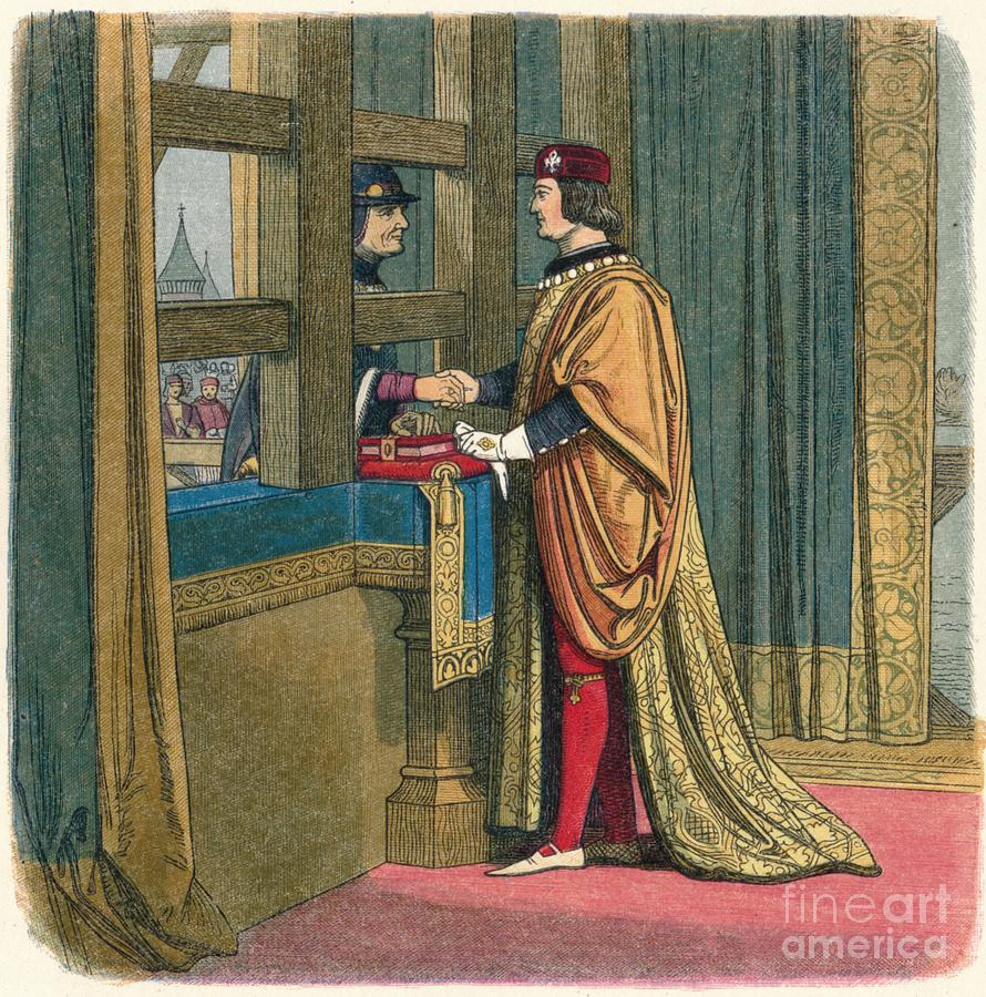 Meeting Of Edward Iv And Louis Xi Drawing by Print Collector
