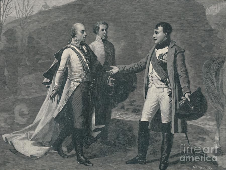 Meeting Of Napoleon And Francis Drawing by Print Collector