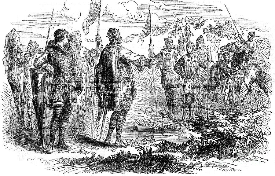 Meeting Of Stephen And Prince Henry Drawing by Print Collector
