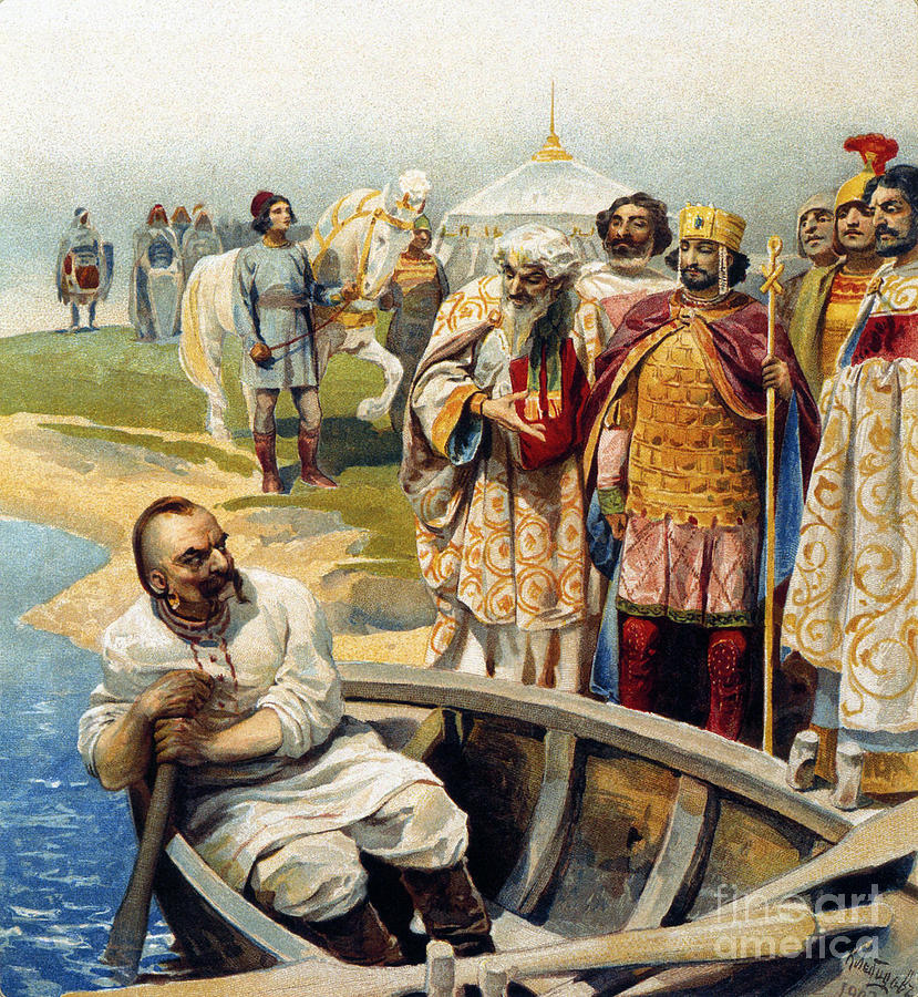 Meeting Of Svyatoslav I With Emperor Drawing by Heritage Images