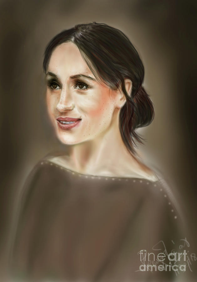American Actress Digital Art - Megan Markle Portrait Painting by Remy Francis