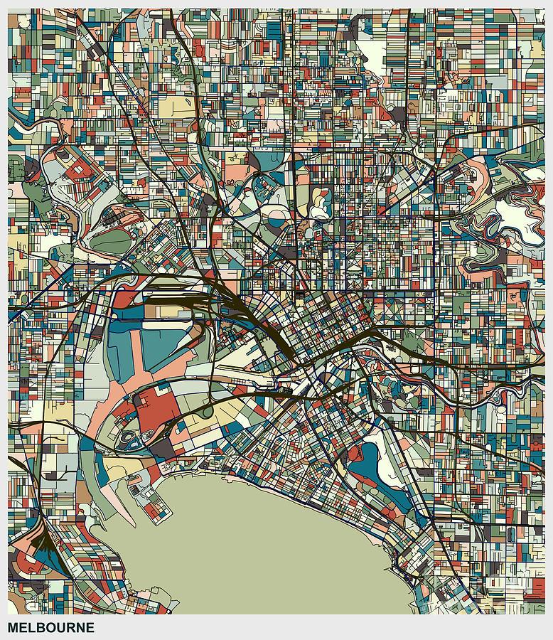 Melbourne City Art Map Background Digital Art by Shuoshu