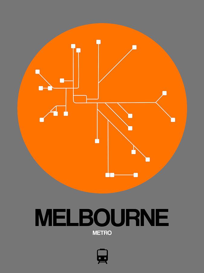 Melbourne Digital Art - Melbourne Orange Subway Map by Naxart Studio