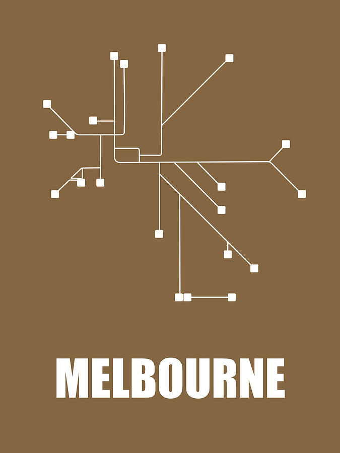 Melbourne Digital Art - Melbourne Subway Map 2 by Naxart Studio