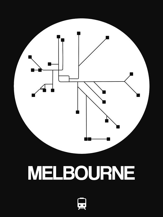 Melbourne Digital Art - Melbourne White Subway Map by Naxart Studio