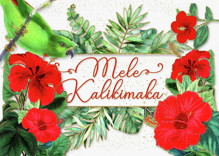 Tropical Christmas.Mele Kalikimaka Hawaiian Red Hibiscus Tropical Christmas