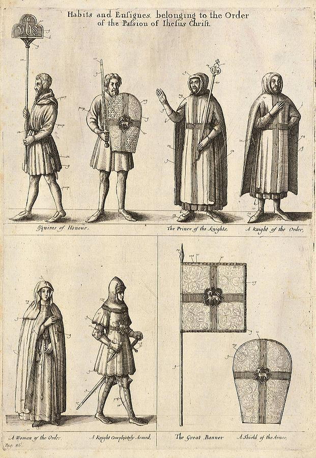 Members Painting - Members Of The Order Of Christ  by Wenceslaus Hollar