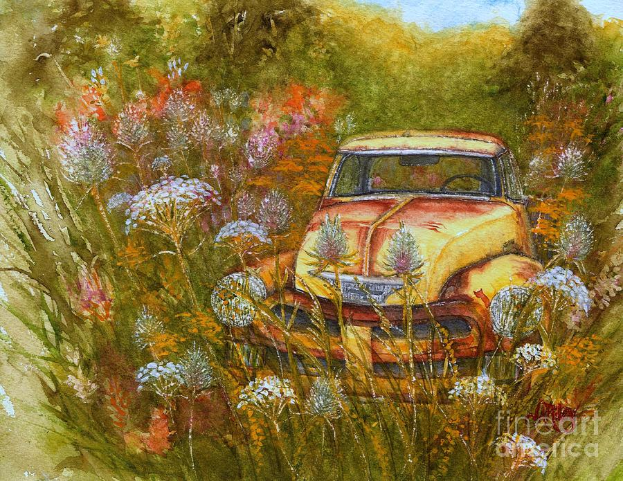 Memories are Golden - Old Yellow Chevy Pick up Truck by Janine Riley