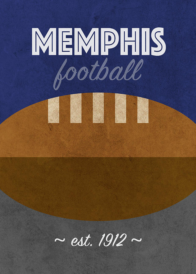Memphis Mixed Media - Memphis Football College Sports Retro Vintage Poster by Design Turnpike