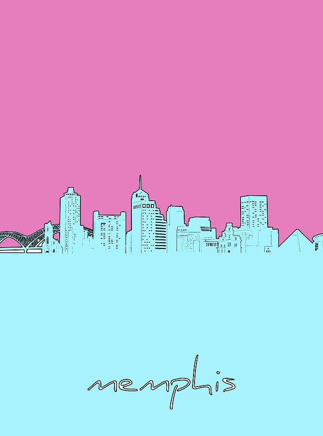 Memphis Skyline Minimal Digital Art
