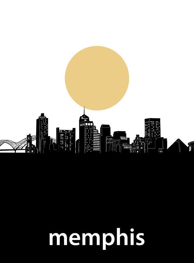 Memphis Digital Art - Memphis Skyline Minimalism by Bekim M