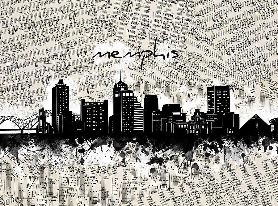 Memphis Skyline Music Sheet Digital Art