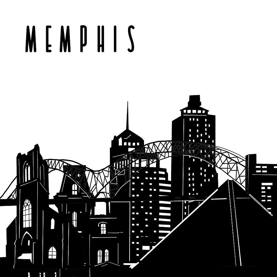 Memphis Digital Art - Memphis Skyline Panorama by Bekim M