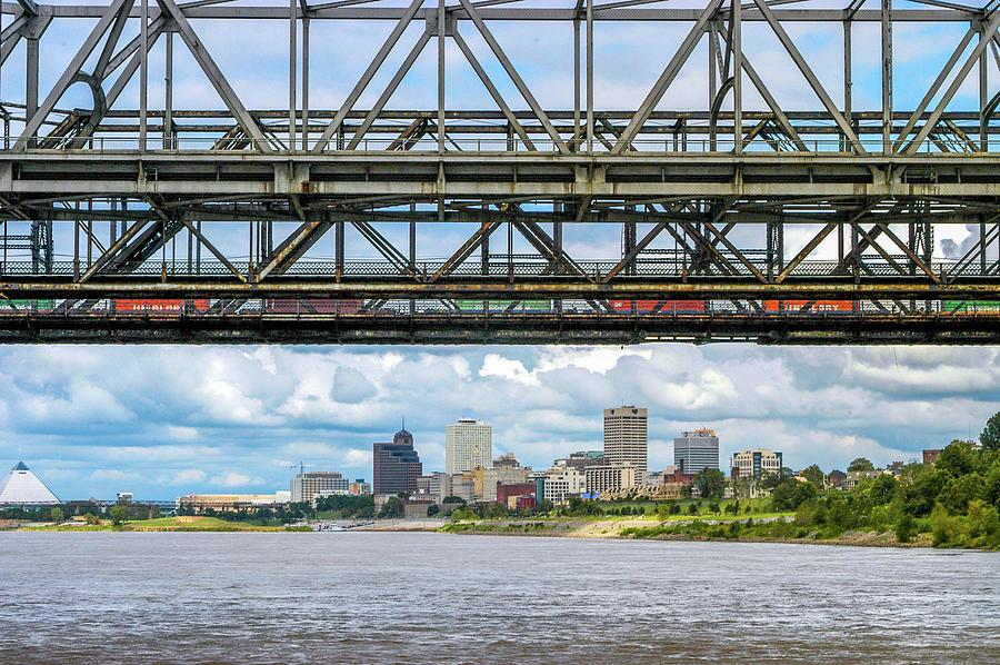 Memphis Skyline Under Bridges Photograph