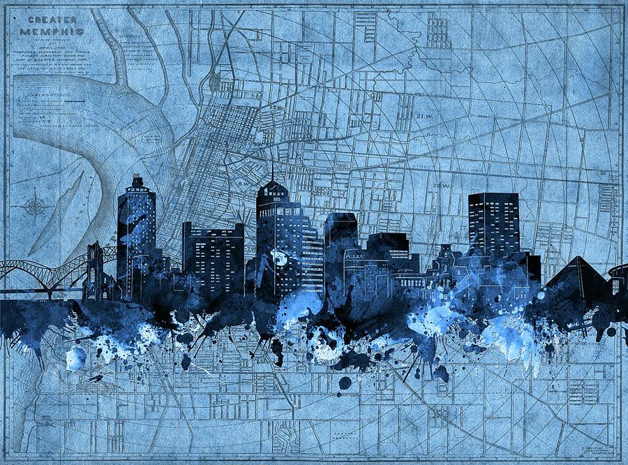 Memphis Digital Art - Memphis Skyline Vintage Blue by Bekim M