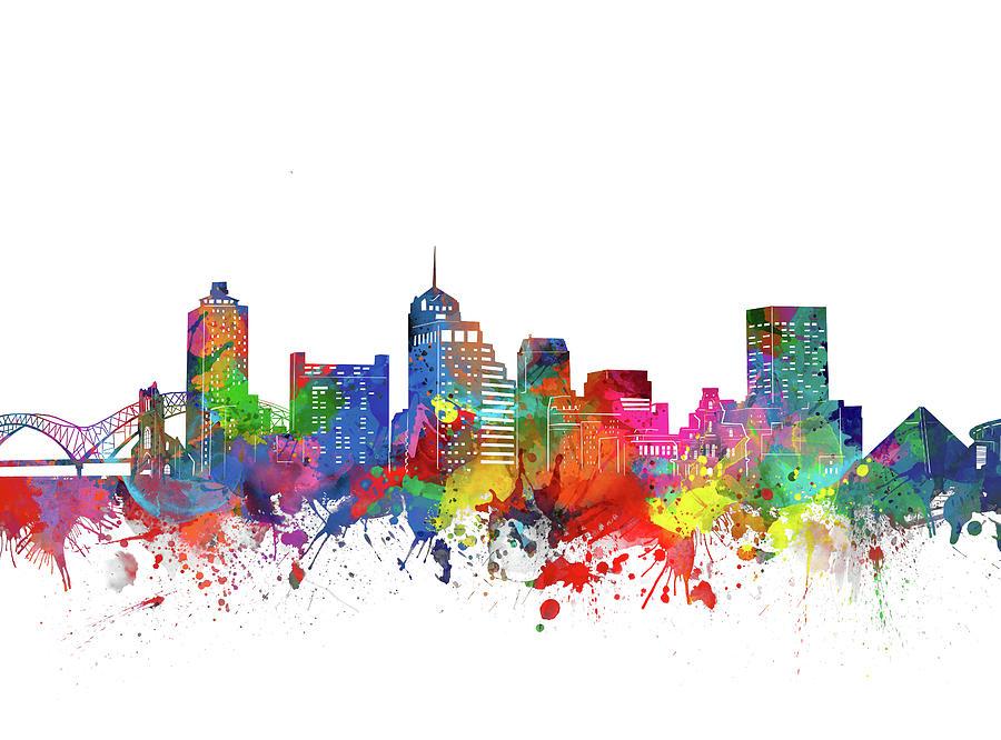 Memphis Digital Art - Memphis Skyline Watercolor by Bekim M