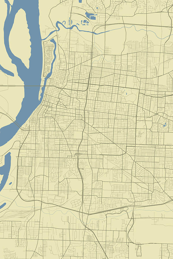 Memphis Tennessee Usa Classic Map