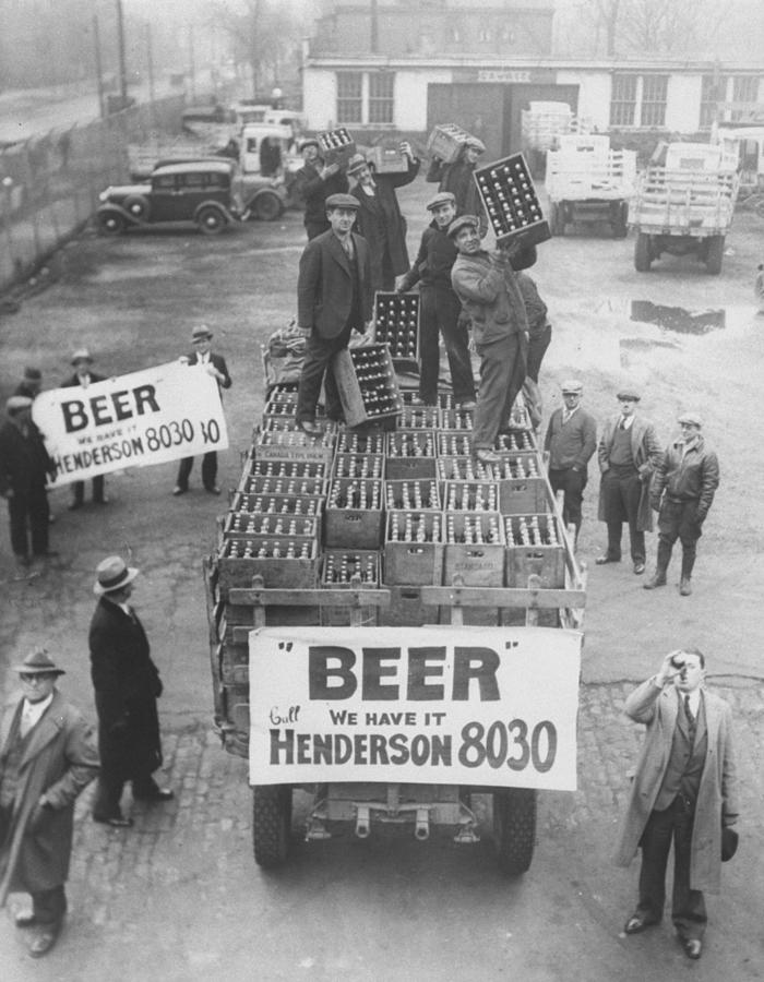 Men Atop Beer Delivery Truck W. Sign Re Photograph by Time Life Pictures