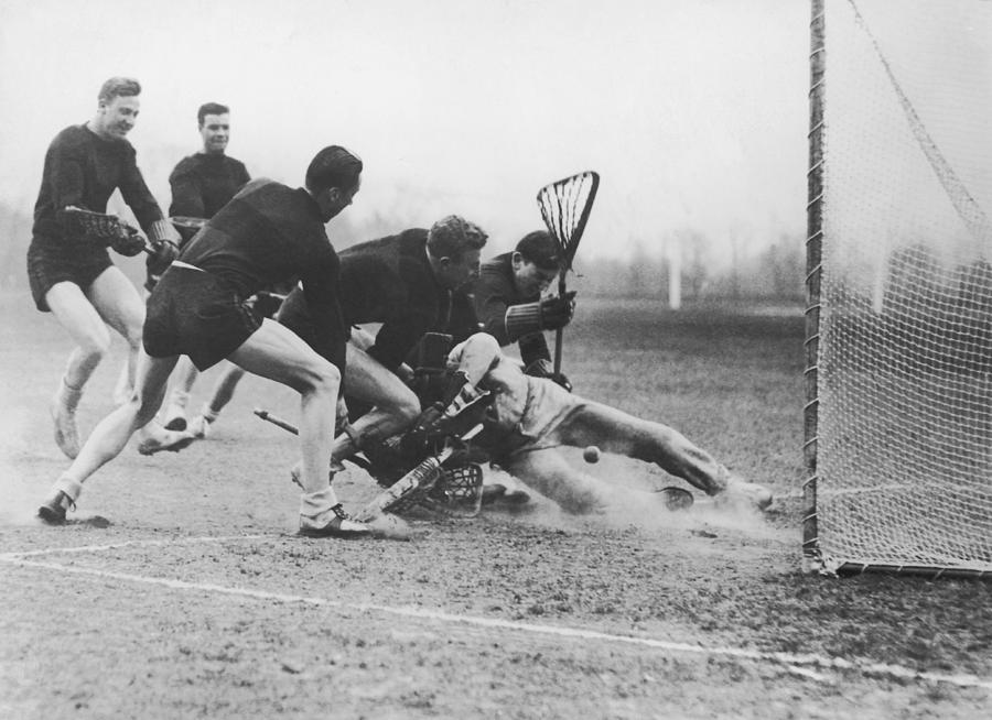 Men Playing Lacrosse B&w Photograph by Fpg