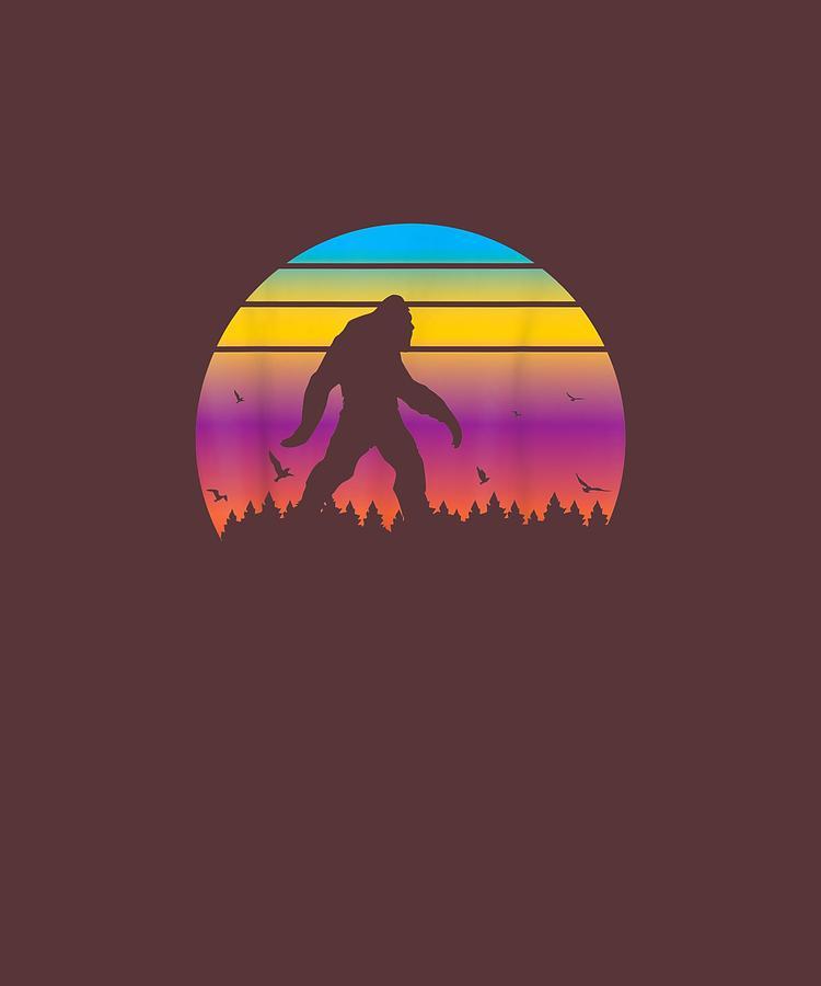Men Retro Bigfoot Silhouette T Shirt Yeti Sasquatch Believe