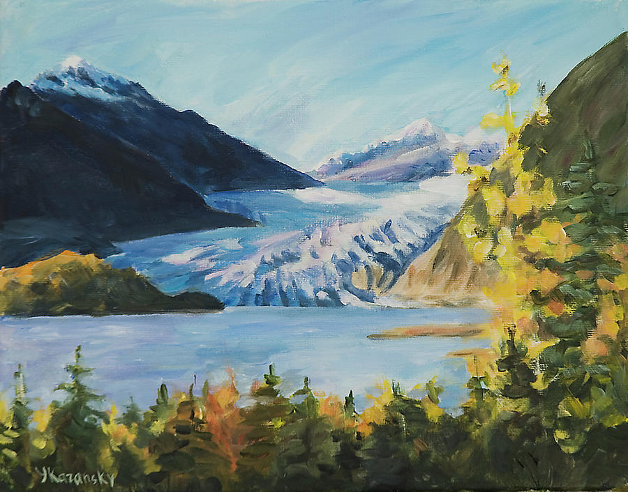 Sunny Autumn Day Mendenhall Glacier Juneau Alaska by Yulia Kazansky
