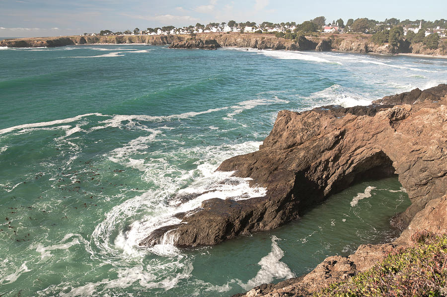 Mendocino Photograph - Mendocino Village and Sea Cave by Cinnamon Sky Photography