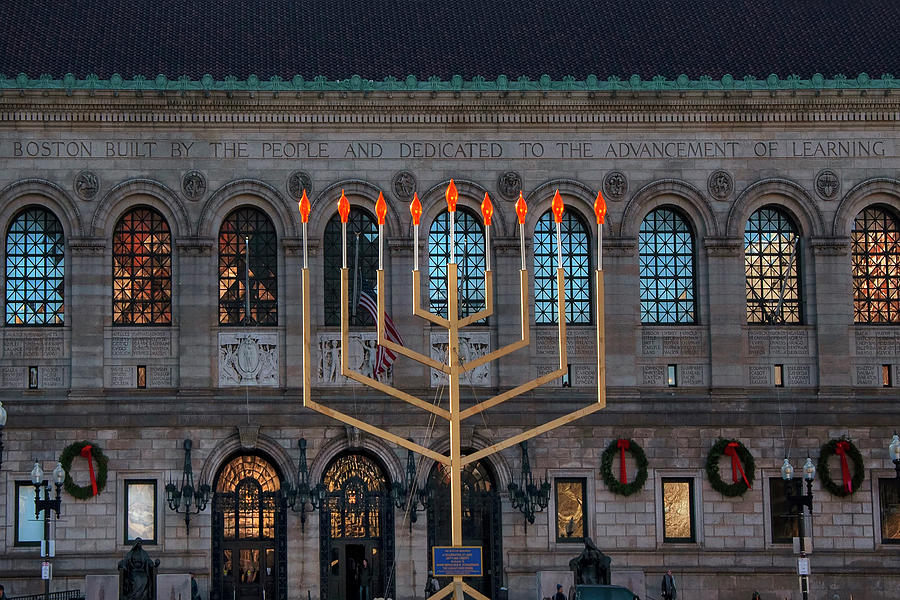 Menorah in Copley Square by Joann Vitali