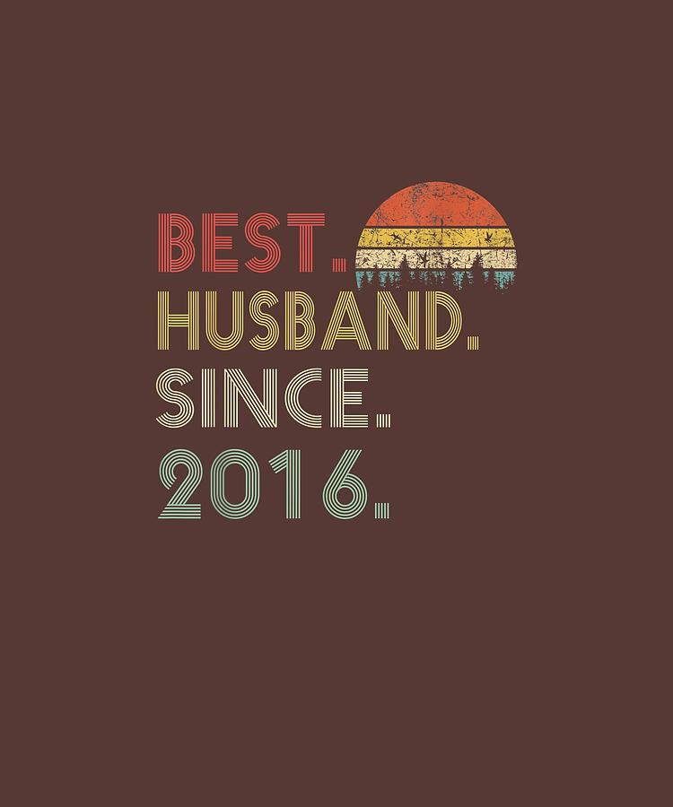 Mens 3rd Wedding Anniversary Gift Best Husband Since 2016 Tshirt Digital Art By Limited Tees