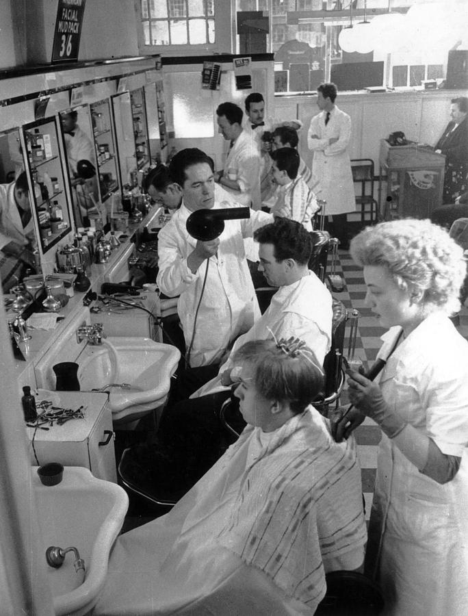 Mens Hairdressing Photograph by Maurice Ambler
