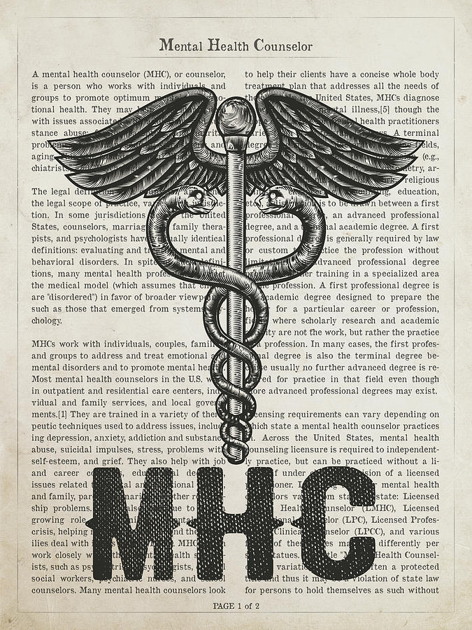 Mhc Digital Art - Mental Health Counselor Gift Idea With Caduceus Illustration 01 by Aged Pixel