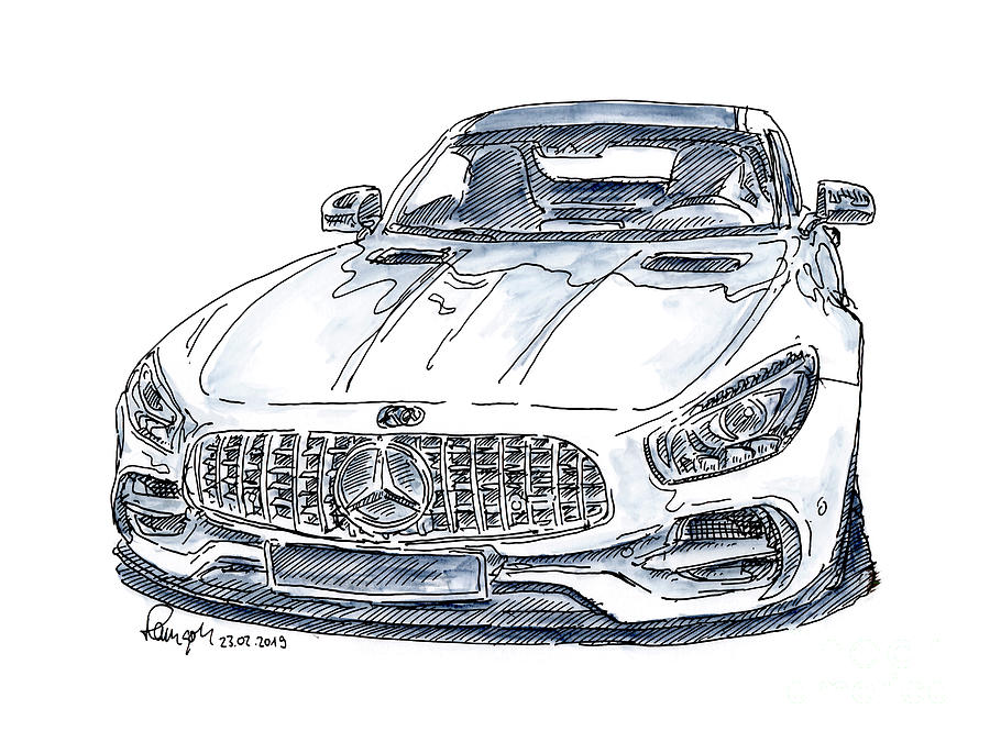 Mercedes Amg Gt S Sports Car Ink Drawing And Watercolor Drawing By Frank Ramspott