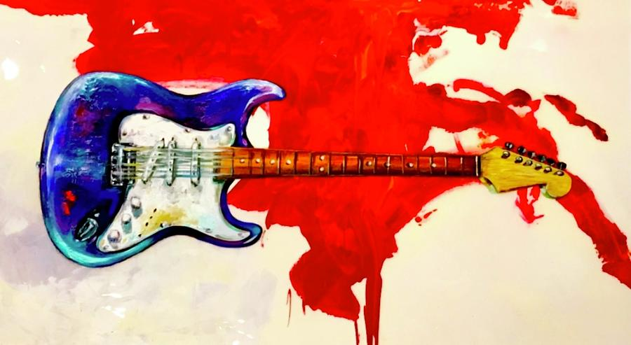 Guitar Painting - Mercy by Heather Roddy