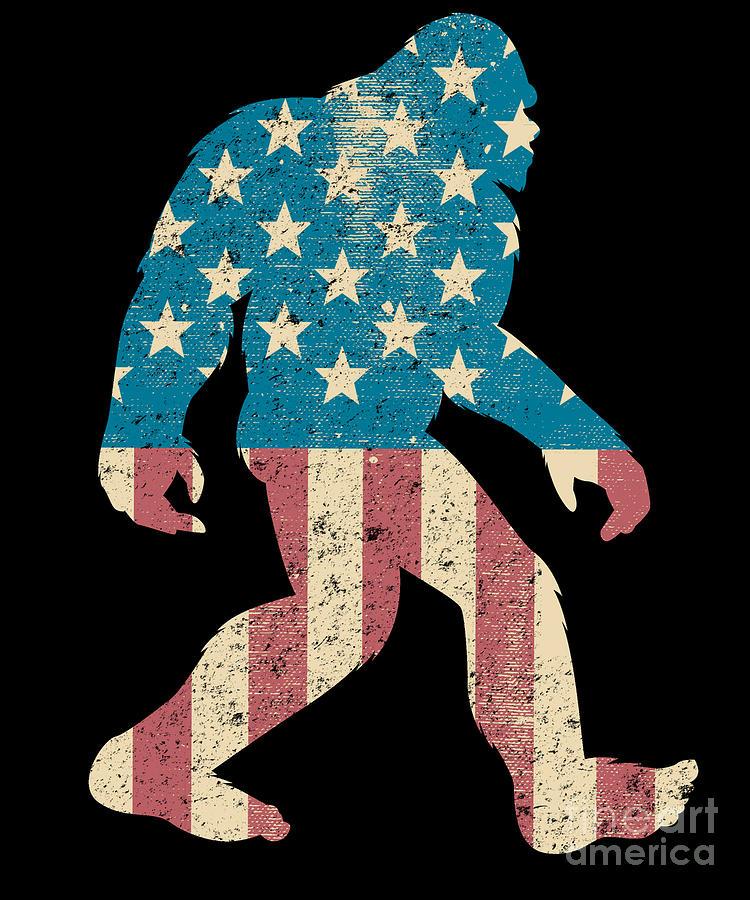 Merica American Flag Sasquatch Bigfoot Gift Silhouette Gag Gift