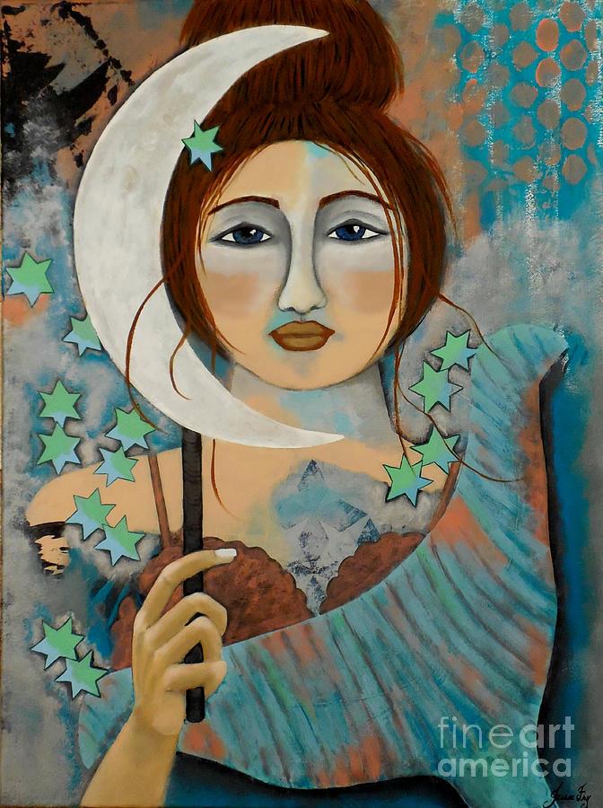 Mermaid and Patina Moon by Jean Fry