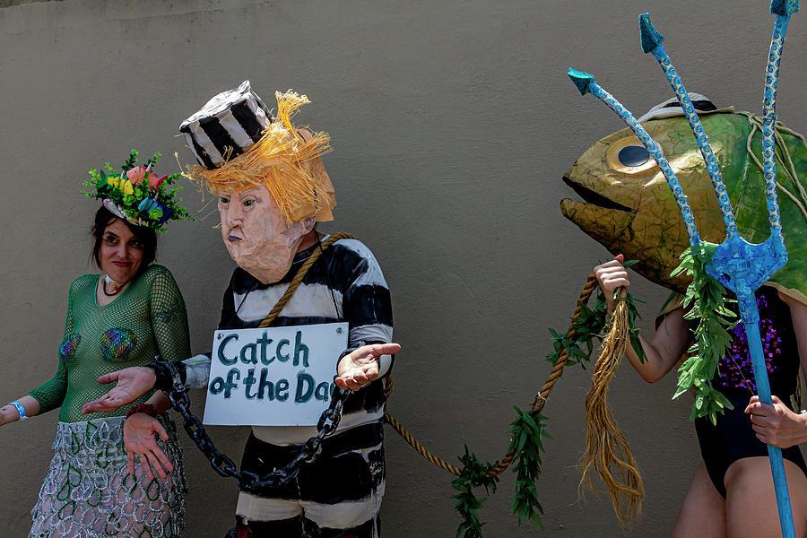 Mermaid Parade Coney Island NYC 6_22_2019 Trump Protesters by Robert Ullmann