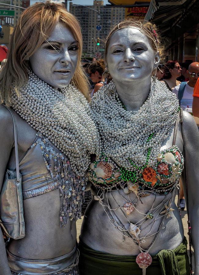 Mermaid Parade Coney Island NYC 6_22_2019 Two Silver Mermaids by Robert Ullmann