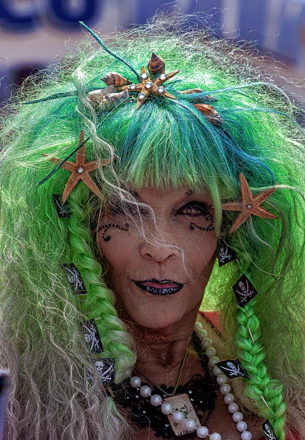 Mermaid Parade Coney Island NYC 6_22_2019 Woman in Green Blue an by Robert Ullmann