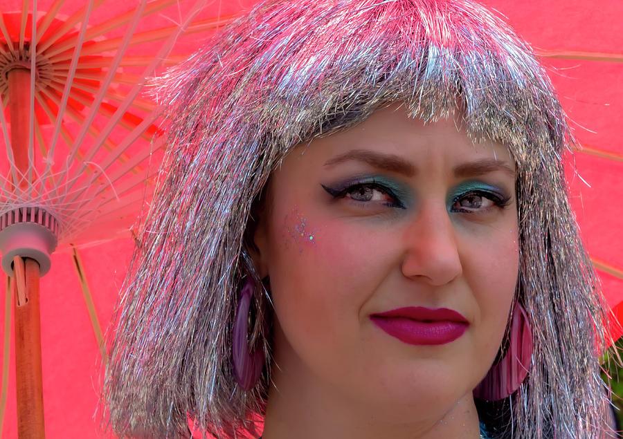 Mermaid Parade Coney Island NYC 6_22_2019 Woman in SIlver Wig by Robert Ullmann