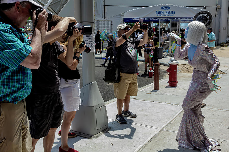 Mermaid Parade Coney Island NYC 6_22_2019 Woman in WHite Wig and by Robert Ullmann