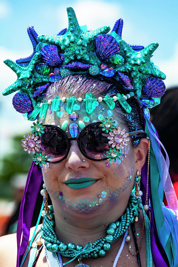 Mermaid Parade Coney Island NYC 6_22_2019 Woman with Starfidh He by Robert Ullmann