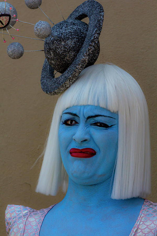 Mermaid Parade Coney Island NYC 6_22_2019 Woman with White Wig B by Robert Ullmann