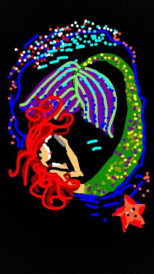 Mermaid Reading Day Digital Art by Madeline Dillner