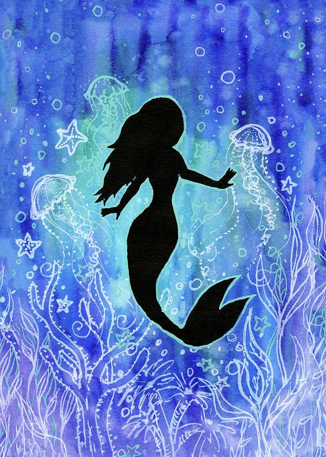 Mermaid Painting - Mermaid Under Water by Olga Shvartsur