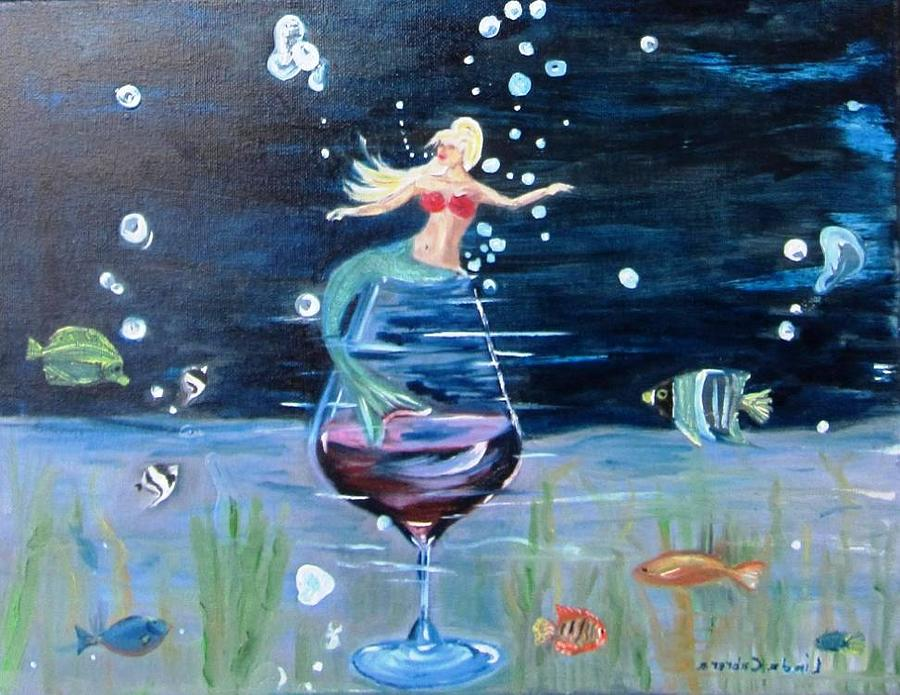 Mermaid wining under the sea by Linda Cabrera