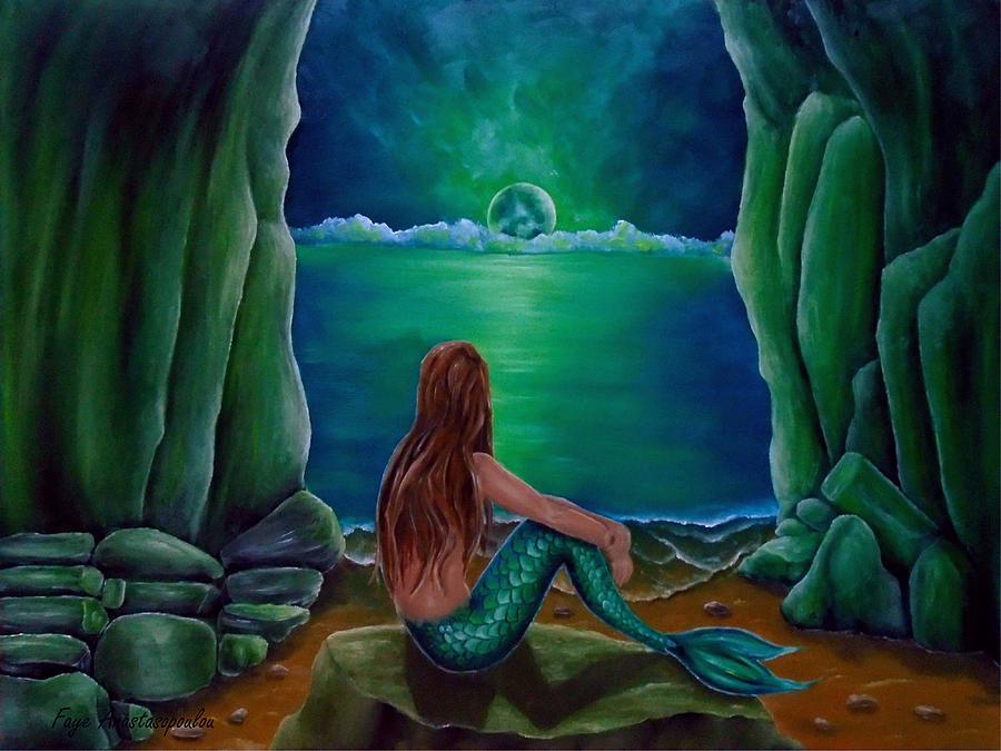 Mermaid Painting - Mermaids Cave by Faye Anastasopoulou