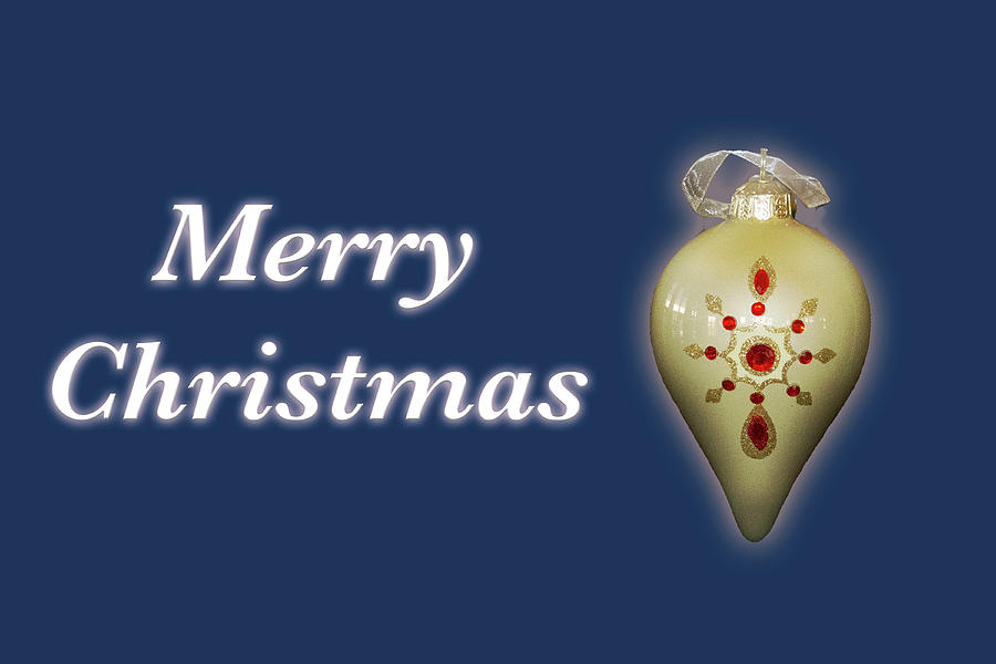 Merry Christmas Ornament Blue by MARVIN BOWSER
