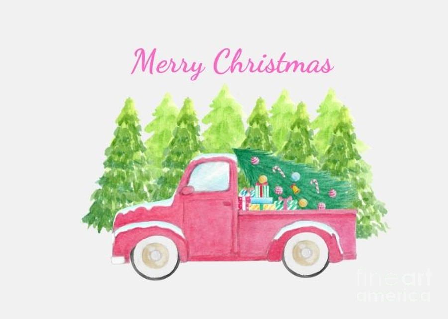 Merry Christmas Pink Truck by Marti Magna