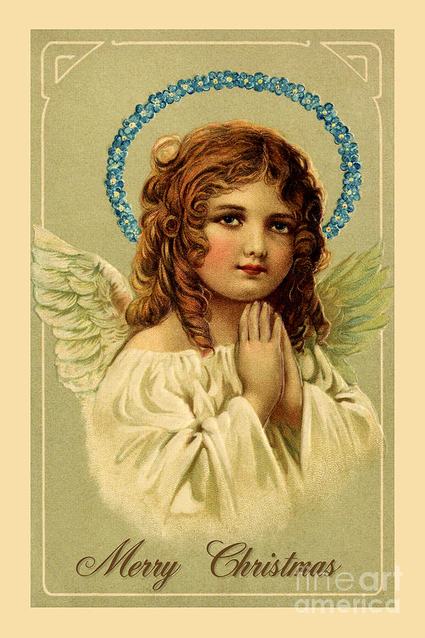 Merry Christmas pretty vintage angel by Aapshop