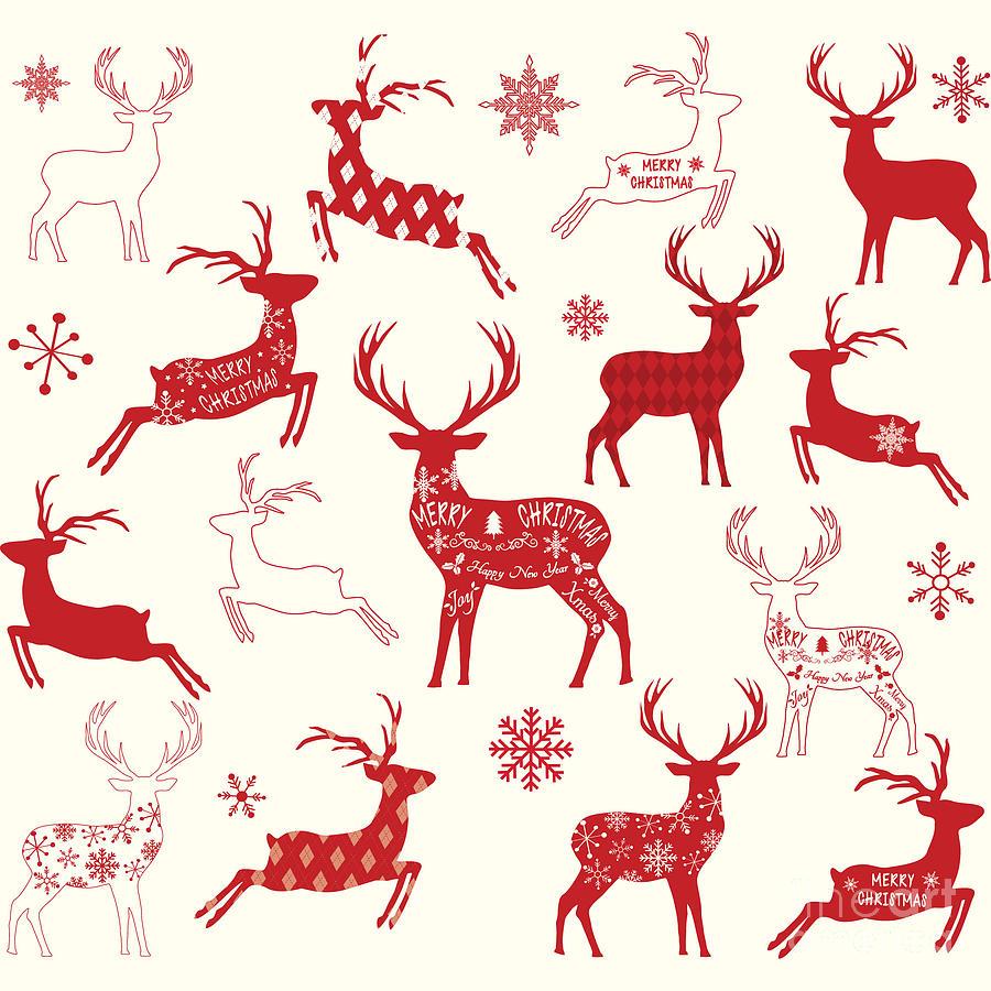 Reindeer Digital Art - Merry Christmas Reindeer,reindeer by Alexaz